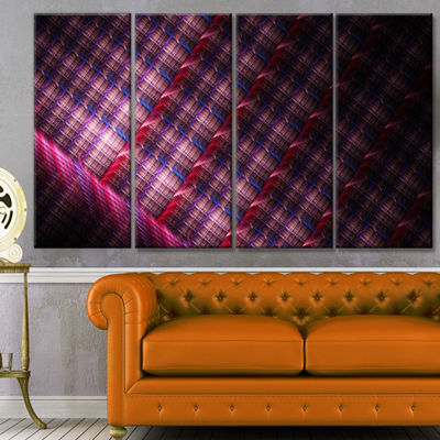 Designart Dark Pink Abstract Metal Grill AbstractArt On Canvas - 4 Panels