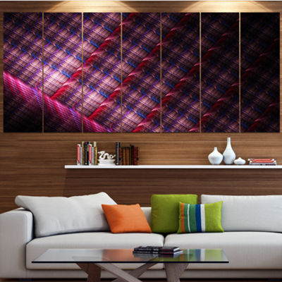 Designart Dark Pink Abstract Metal Grill Contemporary Art OnCanvas - 5 Panels