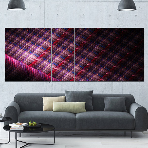 Design Art Dark Pink Abstract Metal Grill AbstractArt On Canvas - 6 Panels
