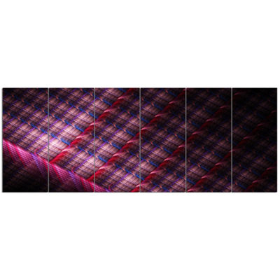 Designart Dark Pink Abstract Metal Grill AbstractArt On Canvas - 6 Panels
