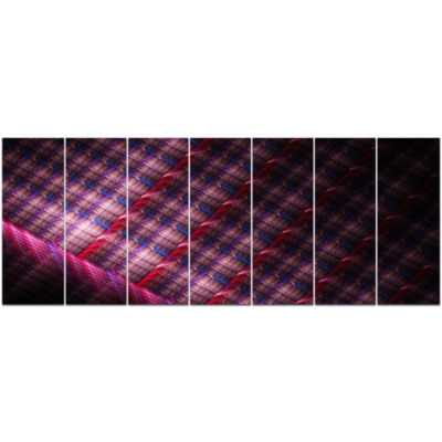 Dark Pink Abstract Metal Grill Abstract Art On Canvas - 7 Panels