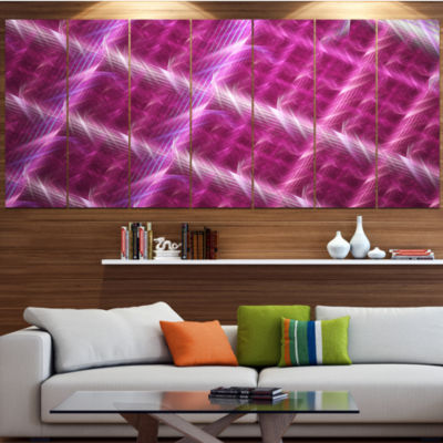 Pink Abstract Metal Grill Contemporary Art On Canvas - 5 Panels
