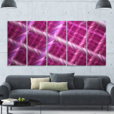 Pink Abstract Metal Grill Abstract Art On Canvas -5 Panels