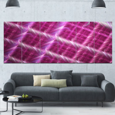 Pink Abstract Metal Grill Abstract Art On Canvas -6 Panels