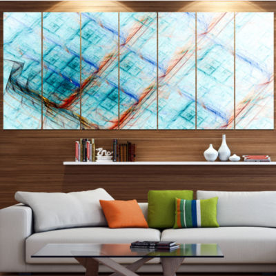 Light Blue Metal Grill Abstract Art On Canvas - 7Panels