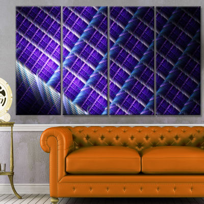Light Purple Metal Grill Abstract Art On Canvas -4 Panels