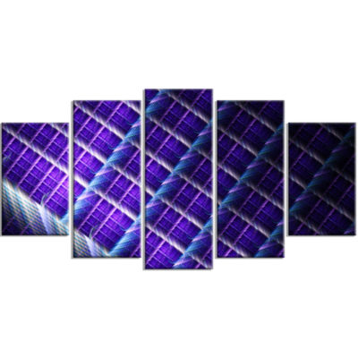 Light Purple Metal Grill Contemporary Art On Canvas - 5 Panels