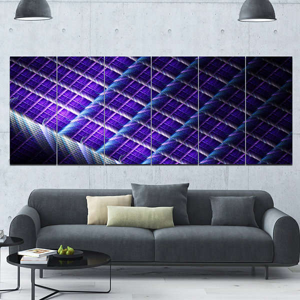 Design Art Light Purple Metal Grill Abstract Art On Canvas -6 Panels