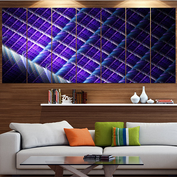 Designart Light Purple Metal Grill Abstract Art OnCanvas -6 Panels
