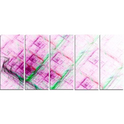 Purple Fractal Grill Pattern Abstract Art On Canvas - 5 Panels