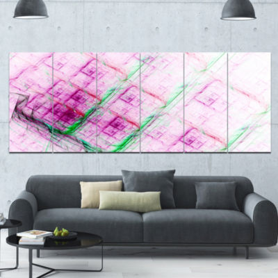 Purple Fractal Grill Pattern Abstract Art On Canvas - 6 Panels