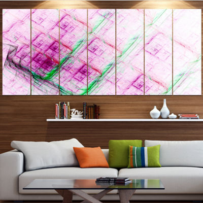 Designart Purple Fractal Grill Pattern Abstract Art On Canvas - 7 Panels