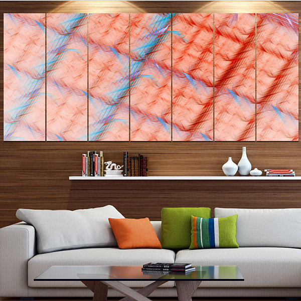 Designart Red Fractal Grill Pattern Abstract ArtOnCanvas -7 Panels