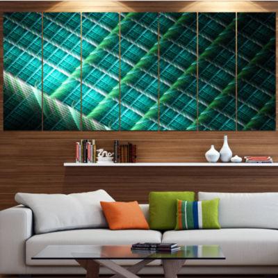 Design Art Green Fractal Grill Pattern Contemporary Art On Canvas - 5 Panels