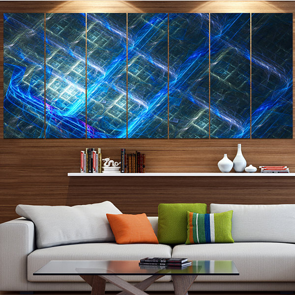 Designart Glowing Blue Fractal Grill Abstract ArtOn Canvas- 4 Panels