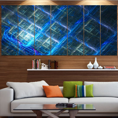 Designart Glowing Blue Fractal Grill Abstract ArtOn Canvas- 6 Panels