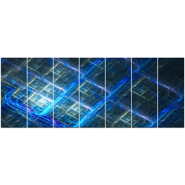 Design Art Glowing Blue Fractal Grill Abstract ArtOn Canvas- 7 Panels