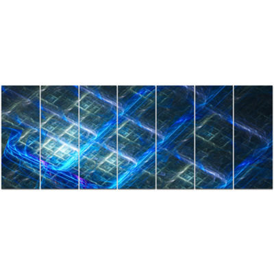Designart Glowing Blue Fractal Grill Abstract ArtOn Canvas- 7 Panels