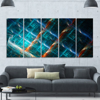 Designart Glowing Green Fractal Grill Abstract ArtOn Canvas- 5 Panels