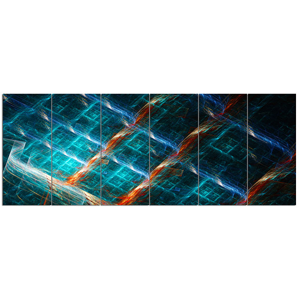 Designart Glowing Green Fractal Grill Abstract ArtOn Canvas- 6 Panels