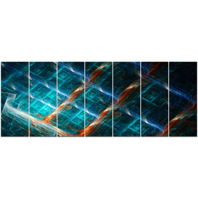 Designart Glowing Green Fractal Grill Abstract ArtOn Canvas- 7 Panels