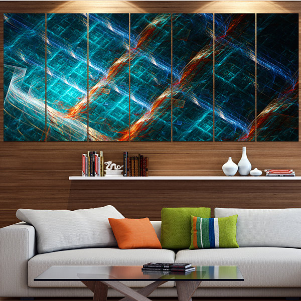 Design Art Glowing Green Fractal Grill Abstract Art On Canvas- 7 Panels
