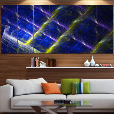 Dark Blue Fractal Grill Contemporary Art On Canvas- 5 Panels