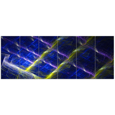 Designart Dark Blue Fractal Grill Abstract Art OnCanvas - 6 Panels