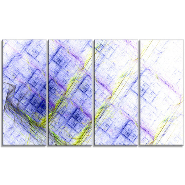 Design Art Light Blue Fractal Grill Abstract Art On Canvas -4 Panels