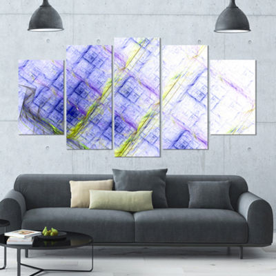Designart Light Blue Fractal Grill Contemporary Art On Canvas - 5 Panels