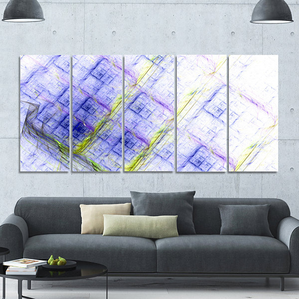 Designart Light Blue Fractal Grill Abstract Art OnCanvas -5 Panels