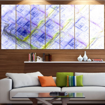 Light Blue Fractal Grill Abstract Art On Canvas -6 Panels