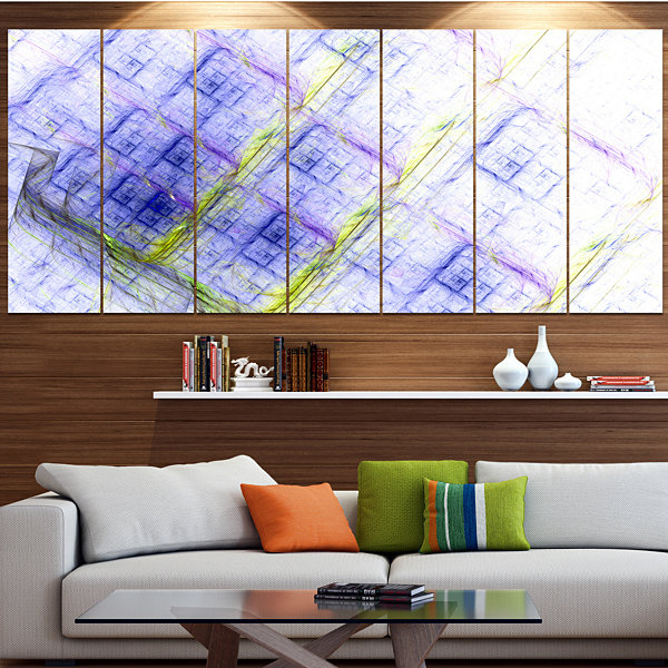 Design Art Light Blue Fractal Grill Abstract Art On Canvas -6 Panels