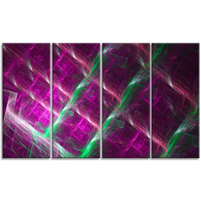 Purple Fractal Metal Grill Abstract Wall Art Canvas - 4 Panels