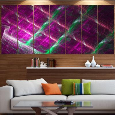 Designart Purple Fractal Metal Grill Abstract WallArt Canvas - 5 Panels