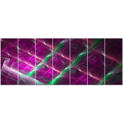 Purple Fractal Metal Grill Abstract Wall Art Canvas - 7 Panels
