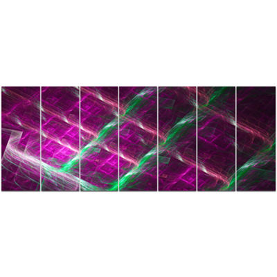 Designart Purple Fractal Metal Grill Abstract WallArt Canvas - 7 Panels
