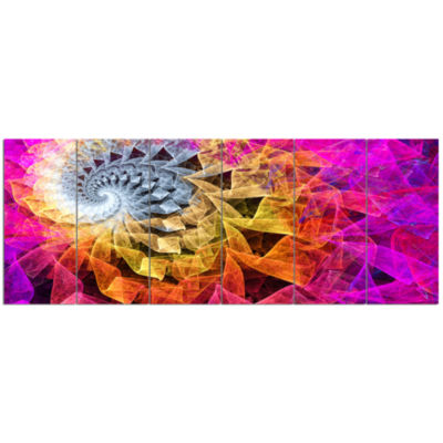 Colorful Spiral Kaleidoscope Abstract Wall Art Canvas - 6 Panels