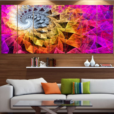 Designart Colorful Spiral Kaleidoscope Abstract Wall Art Canvas - 7 Panels