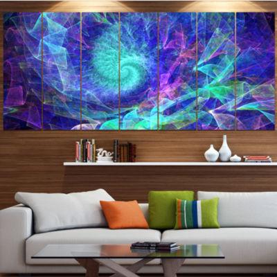 Designart Blue Spiral Kaleidoscope Abstract WallArt Canvas- 7 Panels
