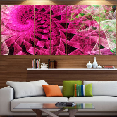 Designart Pink Spiral Kaleidoscope Abstract WallArt Canvas- 4 Panels