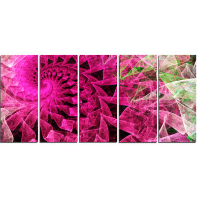 Designart Pink Spiral Kaleidoscope Abstract WallArt Canvas- 5 Panels