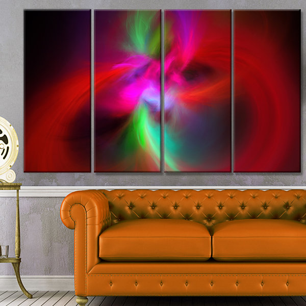 Design Art Red Spiral Kaleidoscope Abstract Wall Art Canvas -4 Panels