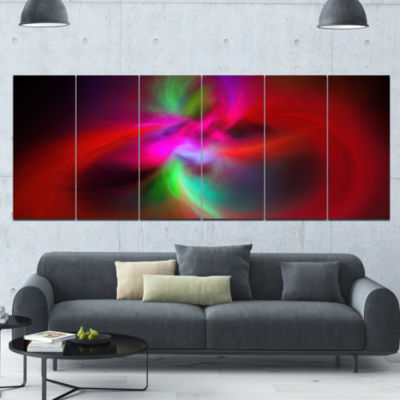 Red Spiral Kaleidoscope Abstract Wall Art Canvas -6 Panels