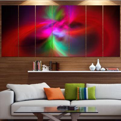 Designart Red Spiral Kaleidoscope Abstract Wall Art Canvas -7 Panels