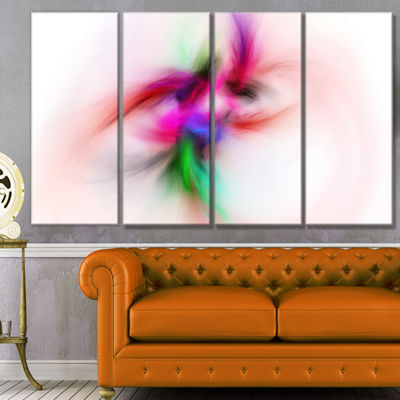 Designart Colorful Electromagnetic Field AbstractWall Art Canvas - 4 Panels
