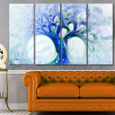 Designart Blue Mystic Psychedelic Tree Abstract Wall Art Canvas - 4 Panels