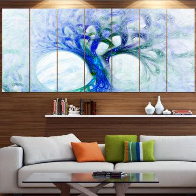Designart Blue Mystic Psychedelic Tree Contemporary Wall ArtCanvas - 5 Panels