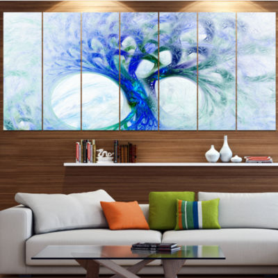 Designart Blue Mystic Psychedelic Tree Abstract Wall Art Canvas - 5 Panels