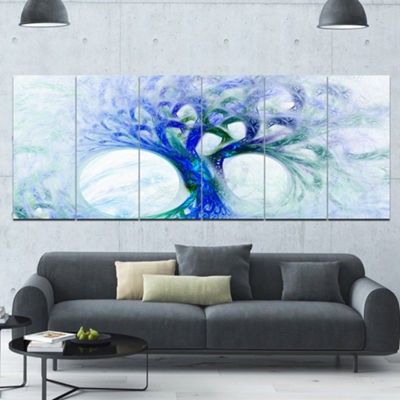 Designart Blue Mystic Psychedelic Tree Abstract Wall Art Canvas - 6 Panels